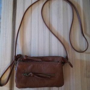 Brown crossbody Wallet / convertible wristlet